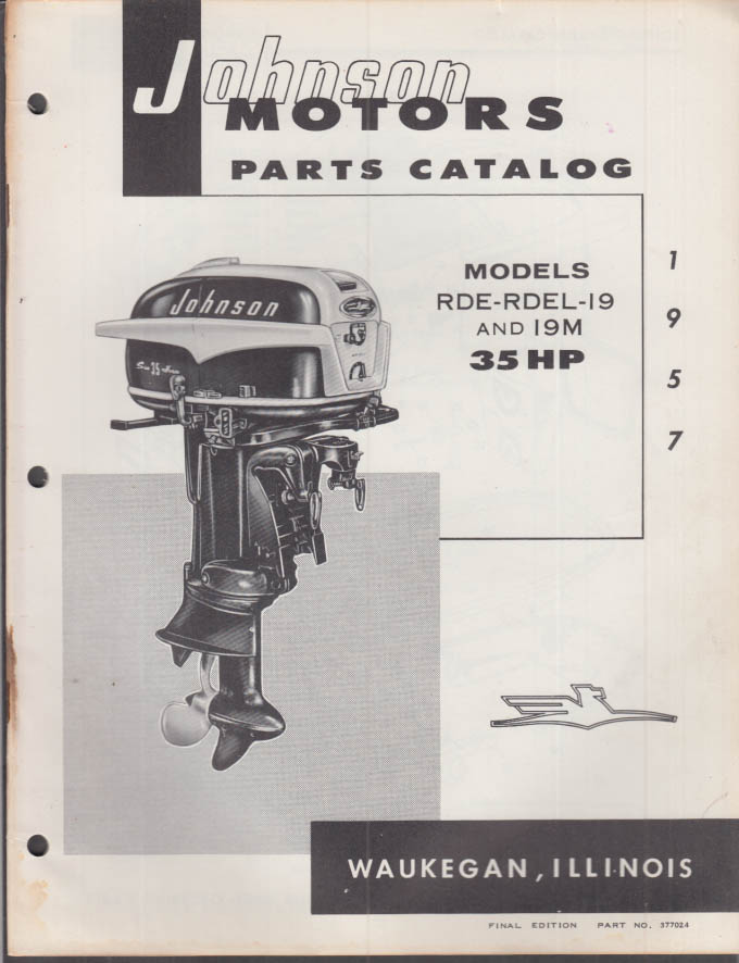 1957 Johnson Outboard Motor Parts Catalog 35 hp RDE RDEL-19 19M