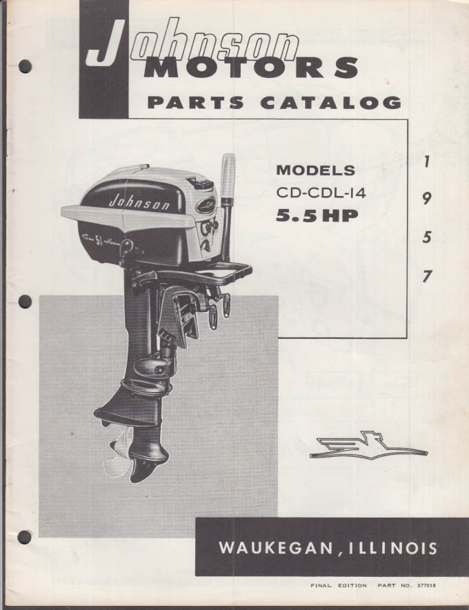 1957 Johnson Outboard Motor Parts Catalog 5.5 hp CD CDL 14
