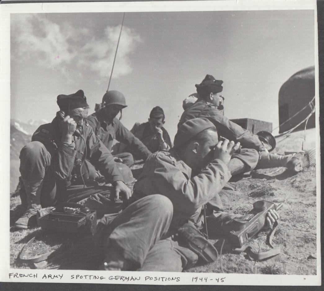 French Army in Alps spotting German military positions photograph #1 1944-45