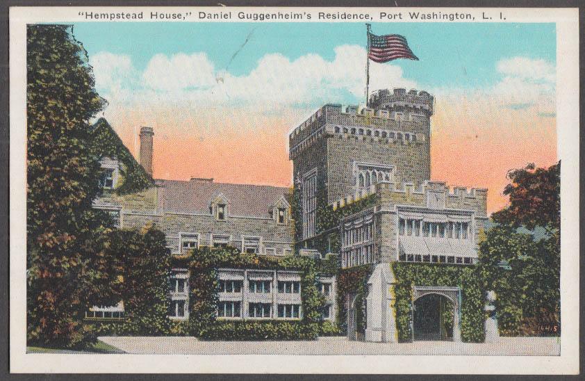 Danial Guggenheim's Hempstead House Port Washington NY postcard ca 1915