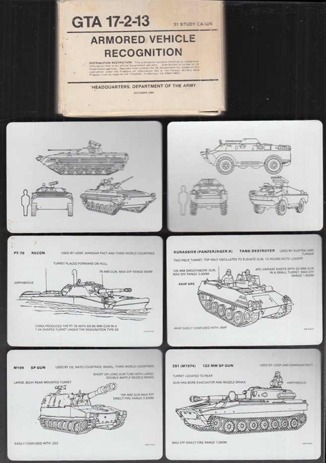 Image for HQ US Army GTA 17-2-13 Armored Vehicle Regonition deck of cards 10 1984