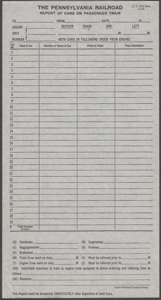 Image for Pennsylvania Railroad Report of Cars on Passenger Trains unused form 1965