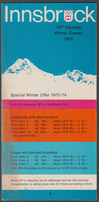 Image for Innsbruck XIIth Olympic Winter Games 1973-4 Tour Packages w/ map 1976