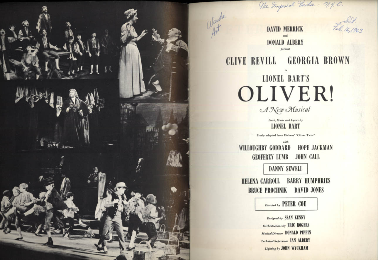 Oliver! souvenir theater program 1963 Clive Revill Georgia Brown ++