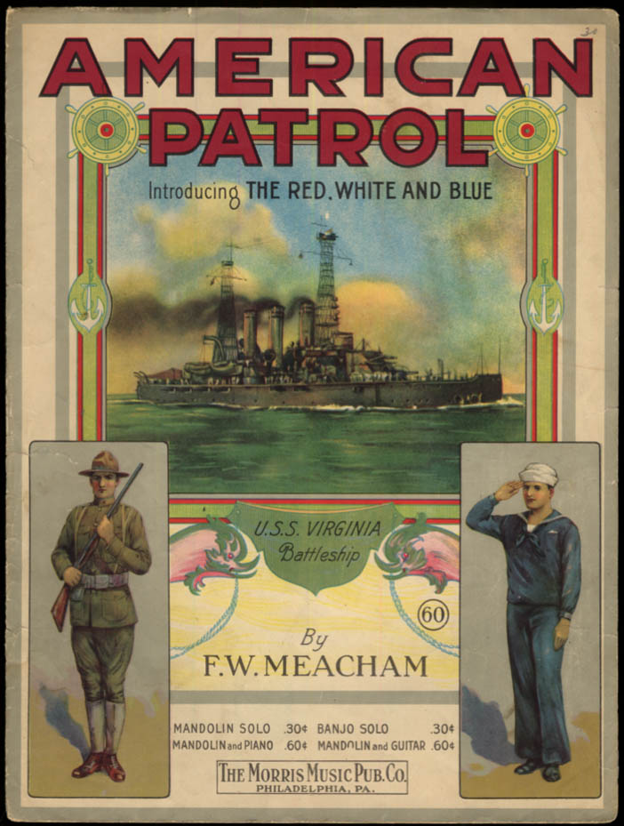 American Patrol sheet music 1914 Battleship USS Virginia