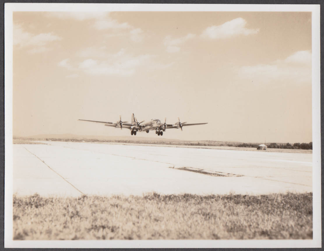 Image for Boeing B-29 Superfortress landing approach Westover AFB MA photo ca 1950s