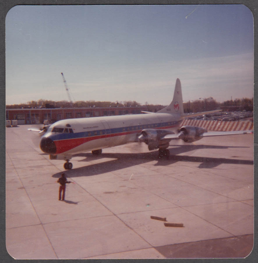 Image for McCulloch International Airlines Douglas DC-7 color photo tarmac snapshot 1970s