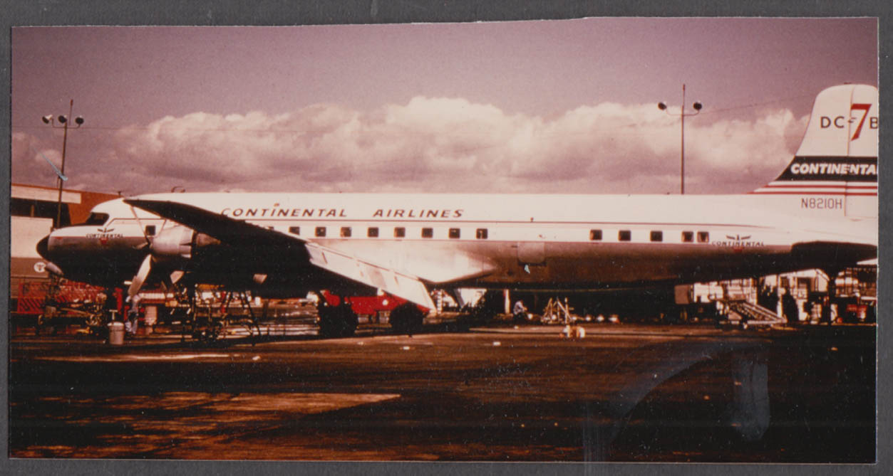 Image for Continental Airlines Douglas DC-7B tarmac color snapshot photo ca 1950s