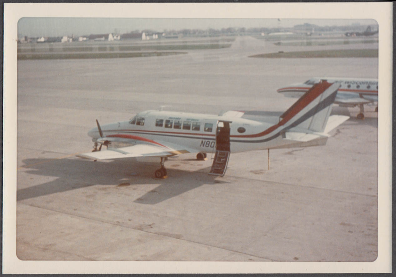 Image for Mesaba Airlines Beechcraft Model 99 N80xxx tarmac color snapshot Eagan MN 1990s