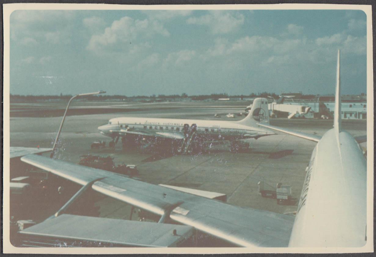Image for Aviateca Guatemala Airlines Douglas DC-6 boarding passengers color snapshot 1967