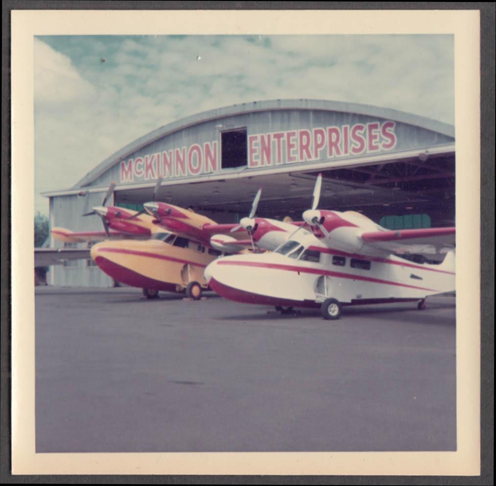 Image for Pair of McKinnon Grumman Widgeon G-44 seaplanes at hangar color photo 1969