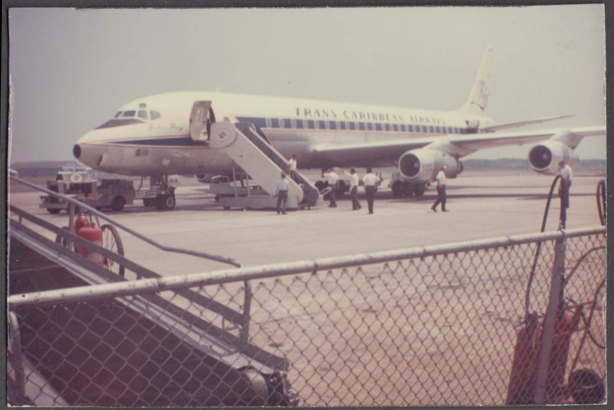 Image for Trans Caribbean Airways Douglas DC-8 pre-boarding color snapshot photo 1960s