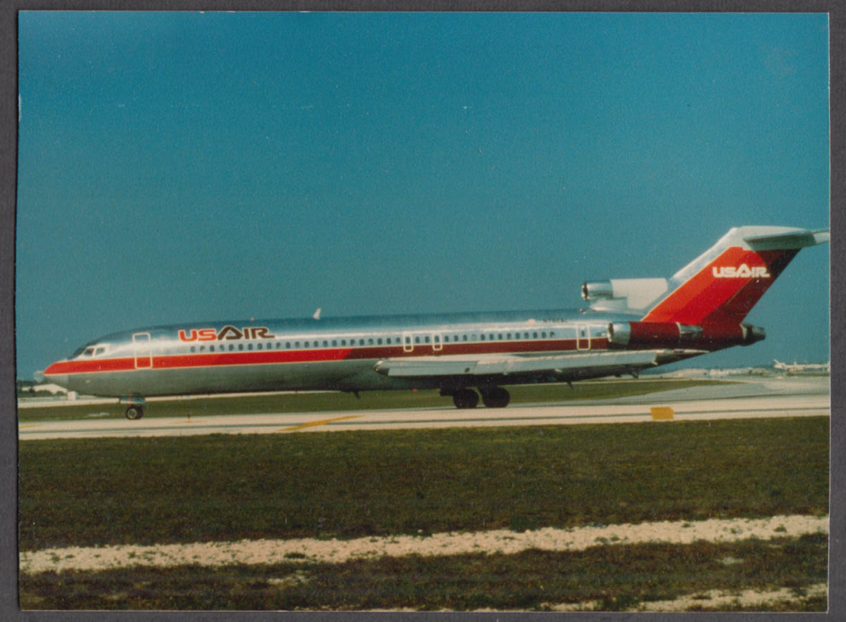 Image for US Airways Boeing 727 N782AI on runway color photo ca 1970s