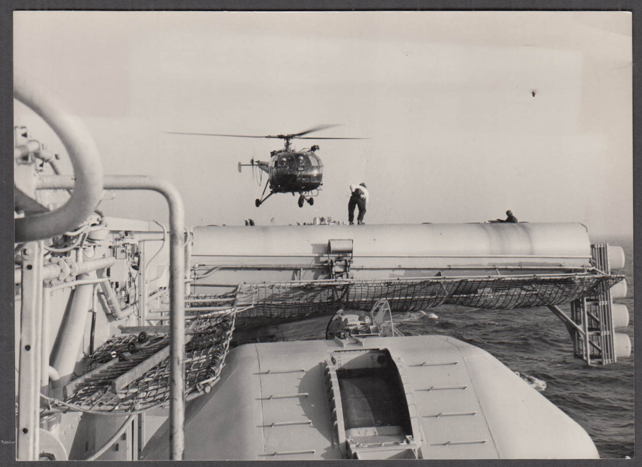 Image for French Arospatiale Alouette III helicopter landing on oil rig 1972