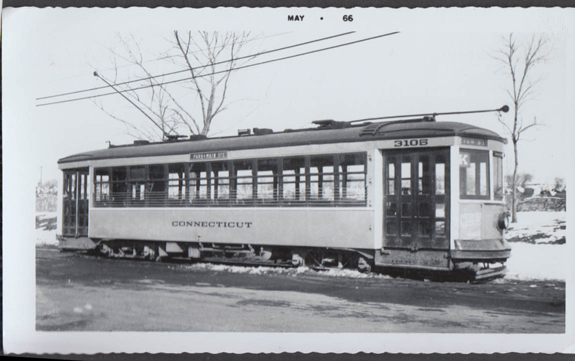 Image for Connecticut Company streetcar #3105 in Hartford photograph Zion St K Route