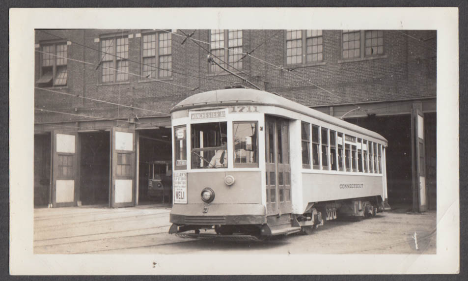 Image for Connecticut Company Streetcar #1711 Winchester Ave New Haven line photograph