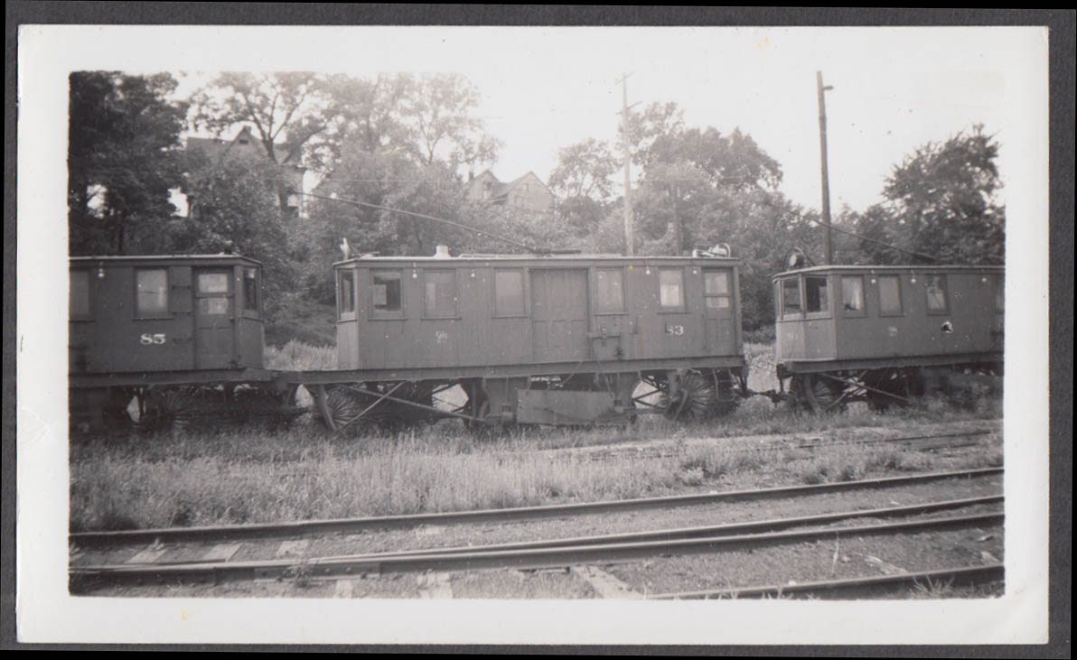 Image for Des Moines Railway wood sweeper car #83 at Des Moines photograph 1940