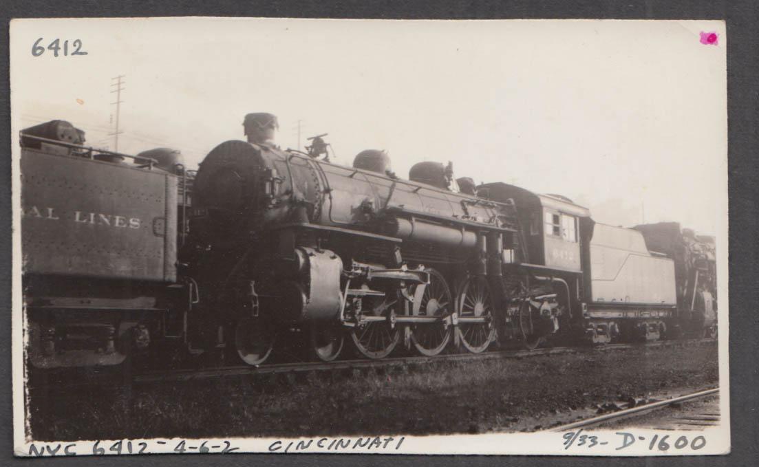 Image for New York Central 4-6-2 locomotive #6412 at Cincinnati photograph 1933