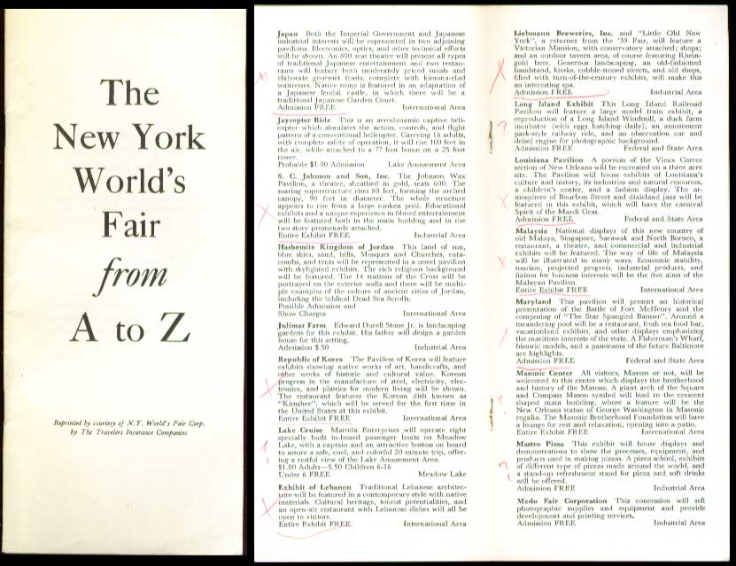 Travelers Insurance 1964 NY World's Fair A to Z