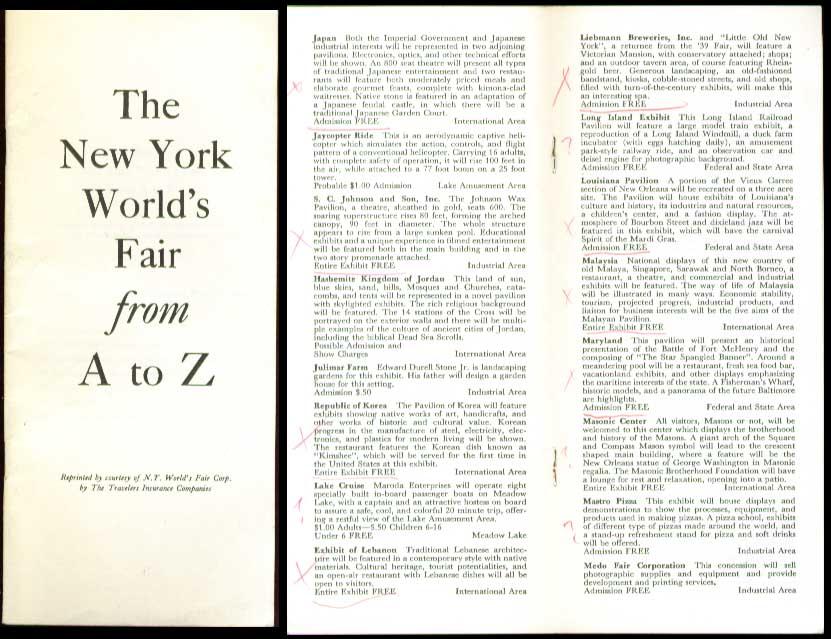 Travelers Insurance 1964 NY World's Fair A to Z