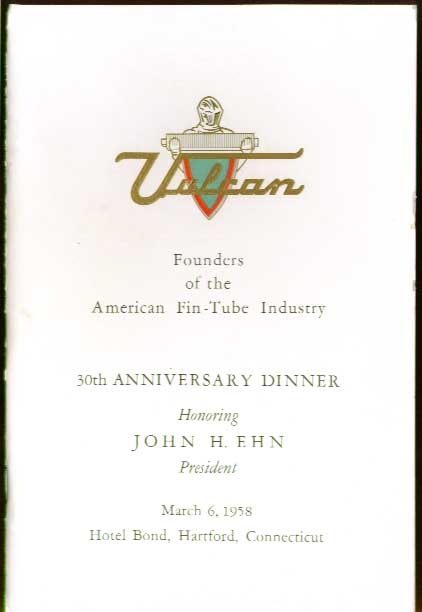 Vulcan Radiator John H Ehn Hartford CT 1958 dinner program