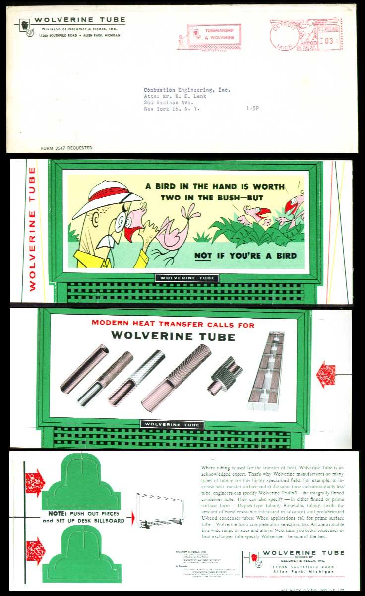 Wolverine Tube desktop billboard 1950s? A bird in the..