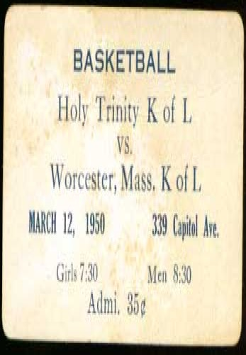 Holy Trinity Worcester MA K of L basketball ticket 1935