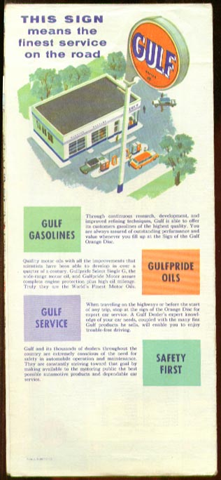 Gulf Tourgide Map Massachusetts Vermont CT RI ++ 1950