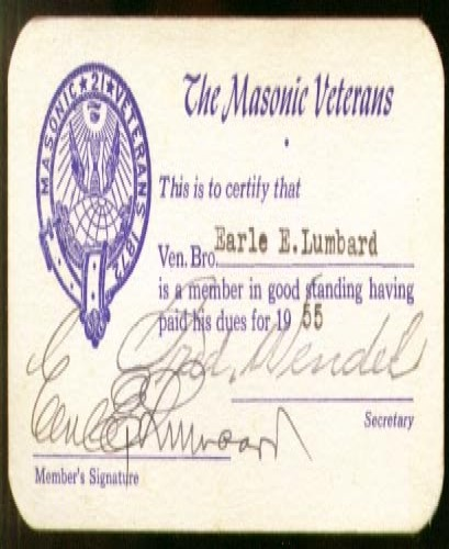 Masonic Veterans membership card 1955 Earle E Lumbard