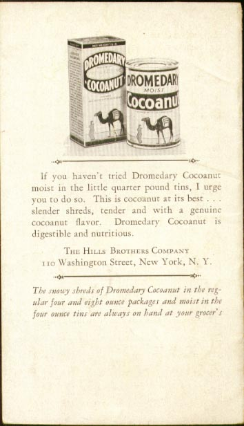 Hills Brothers Dromedary Cocoanut 10 Delicacies booklet