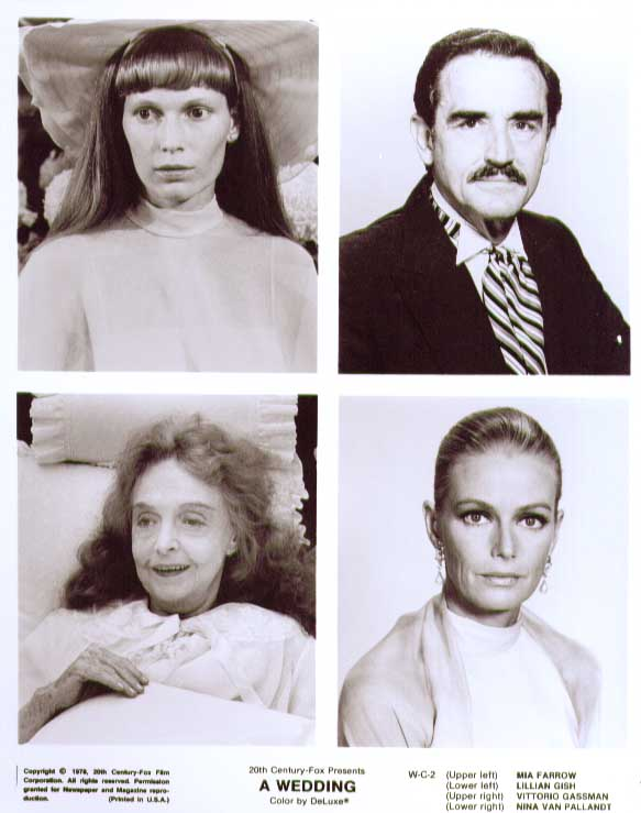 Mia Farrow Nina Van Pallandt Lillian Gish Vittorio Gassman Wedding 8x10 still 2