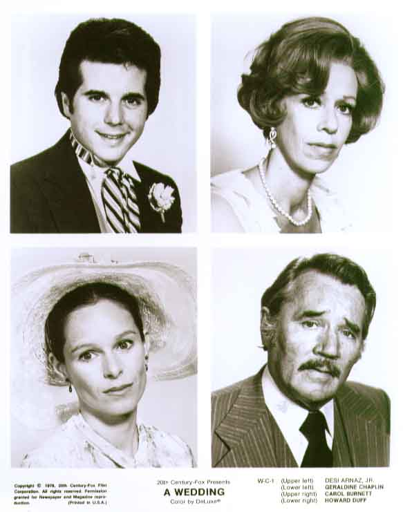 Carol Burnett Geraldine Chaplin Desi Arnaz Jr Howard Duff A Wedding 8x10 still 1