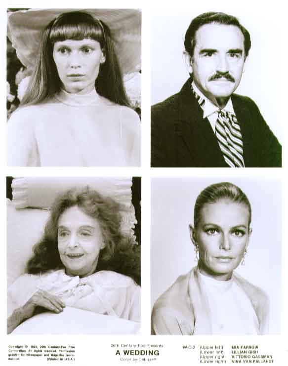 Mia Farrow Lillian Gish Vittorio Gassman Nina Van Pallandt Wedding 8x10 still C2