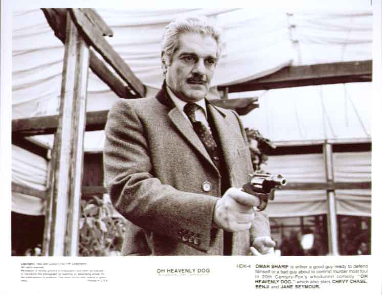 Omar Sharif with gun: Oh Heavenly Dog 1980 8x10 still 4