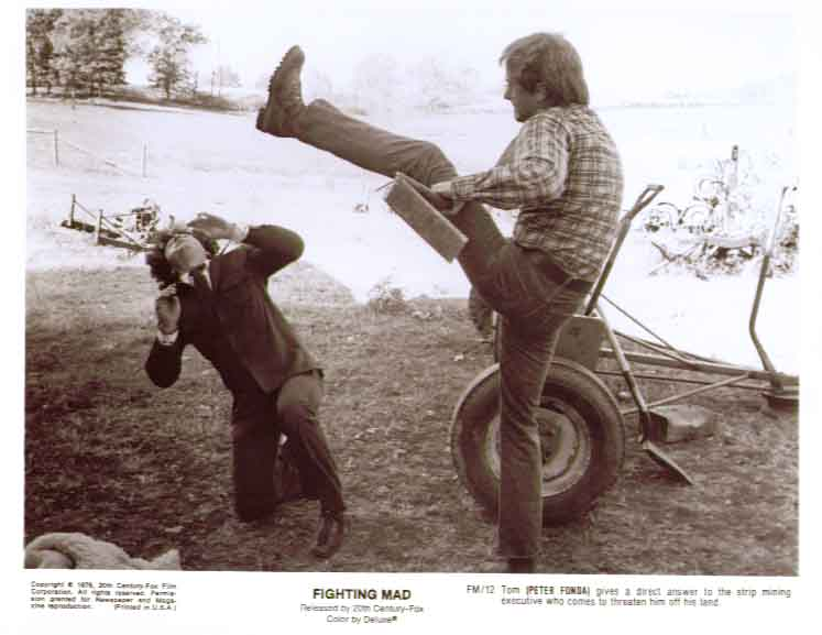 Peter Fonda high-kicks exec: Fighting Mad 8x10 still 12
