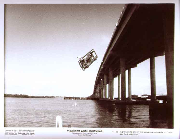 Car flies off bridge Thunder & Lightning 1977 8x10 25