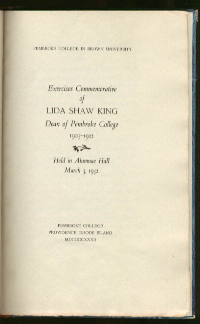 Exercises Commemorative Lida Shaw King Pembroke 1932