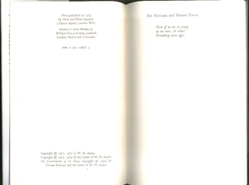 W H Auden: Thank You, Fog: Last Poems 1st UK edition as new in DJ 1974