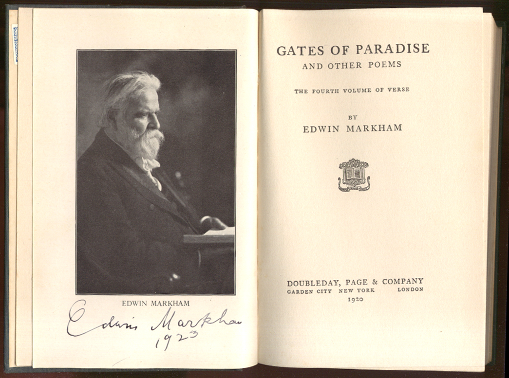 Edwin Markham: The Gates of Paradise 1st ed 1920 SIGNED in 1923