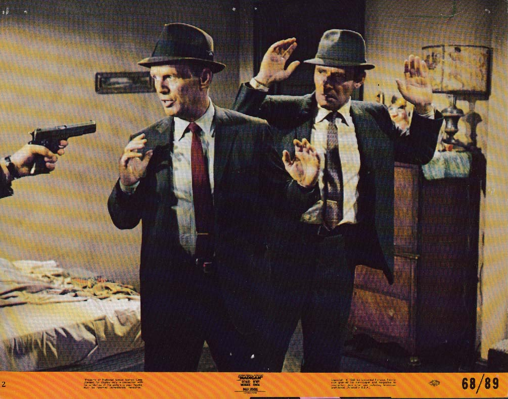 Image for Richard Widmark gets gun pointed in face Harry Guardino Madigan lobby card 1968