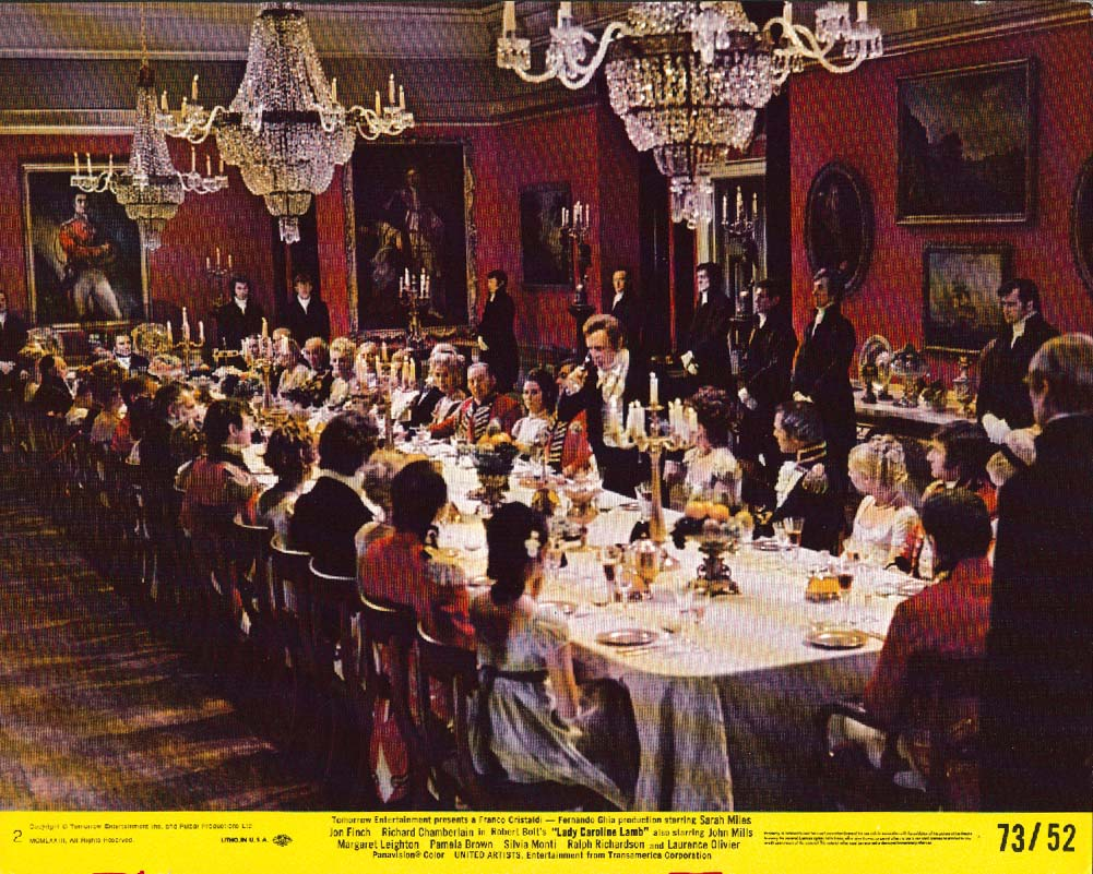 Lady Caroline Lamb banquet scene lobby card 1973