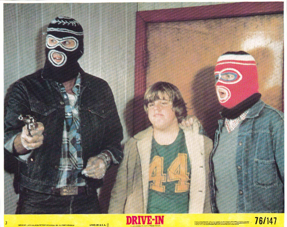 Gary Lee Cavagnaro hold-up men in ski masks Drive-In lobby card 1976