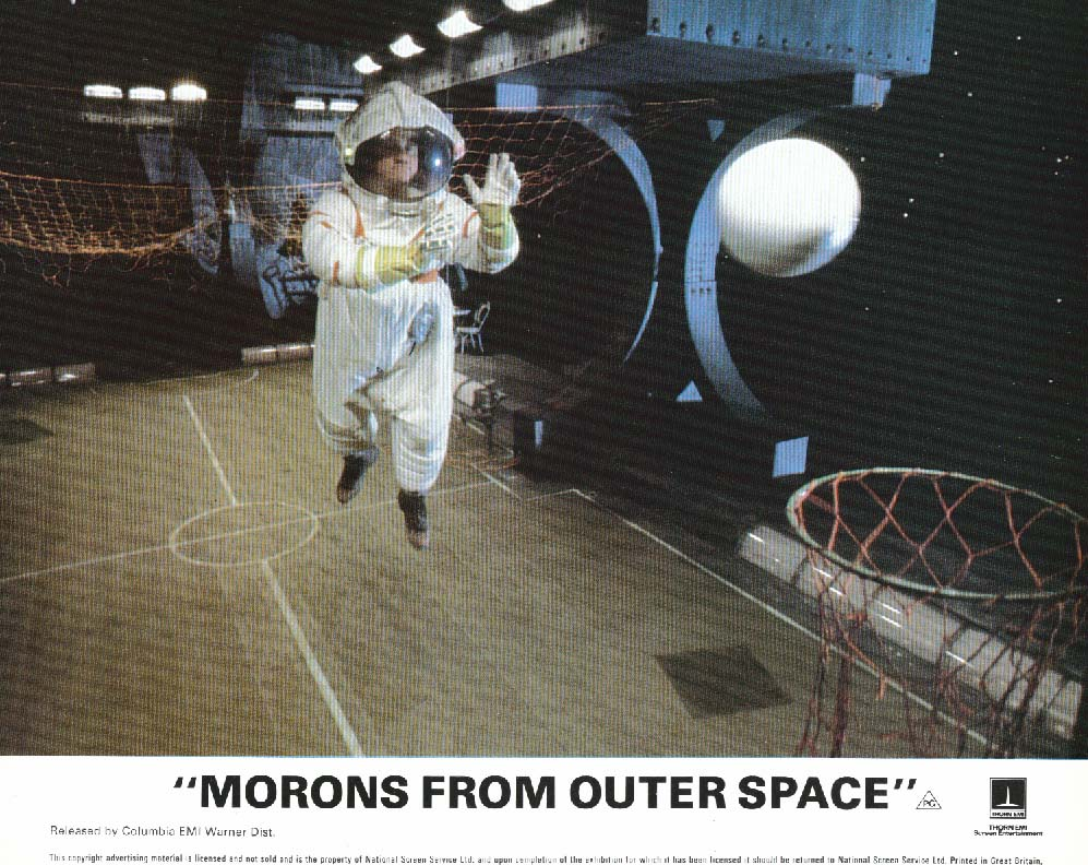 Mel Smith basketball Morons from Outer Space lobby card 1985