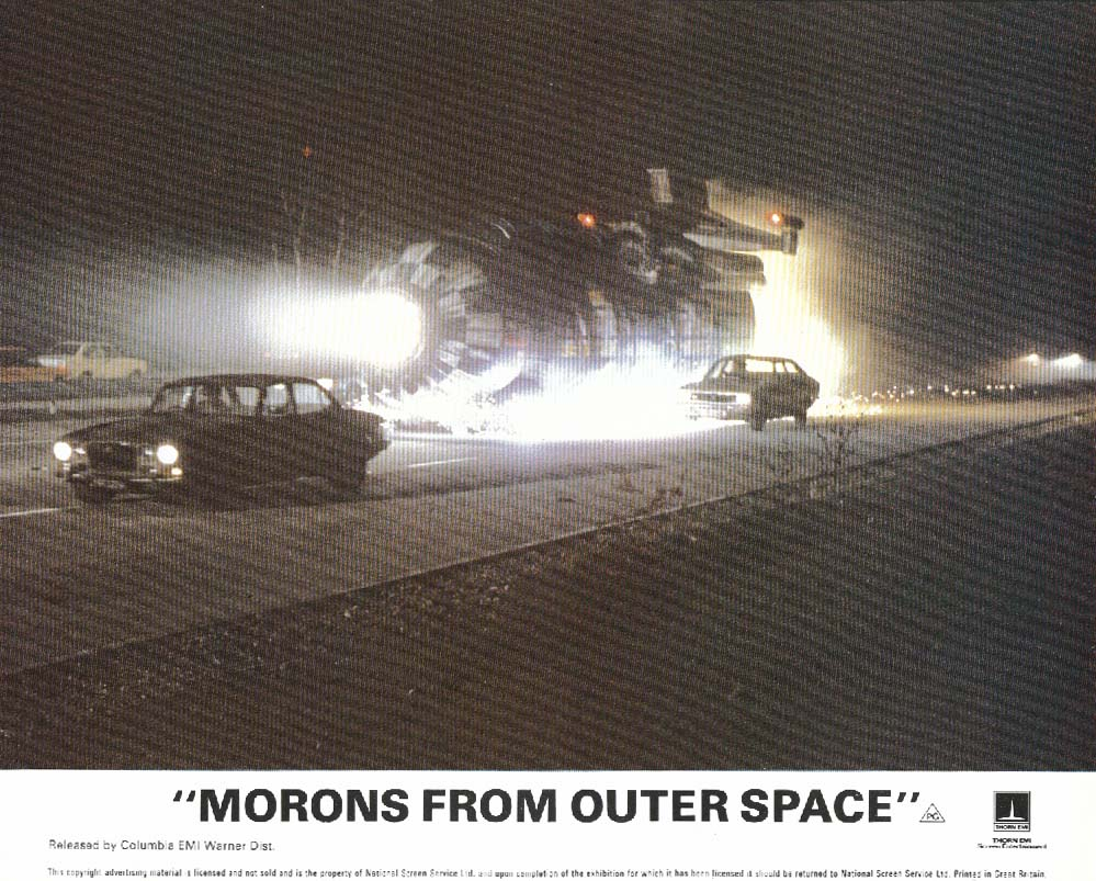 Morons From Outer Space crash landing lobby card 1985