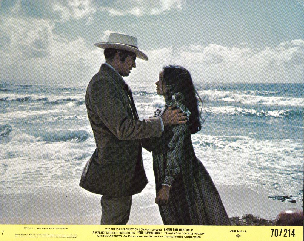 Charlton Heston & girl on beach The Hawaiians lobby card 1970