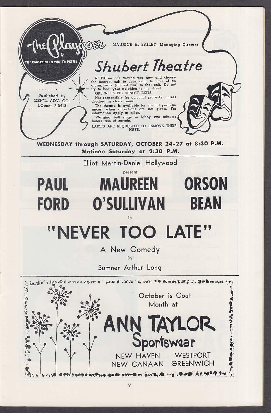 Never Too Late World Premiere Shubert Theatre program 1962