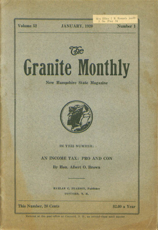GRANITE MONTHLY New Hampshire Town Boundaries Income Tax 1 1920