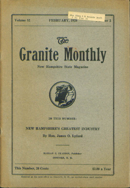 GRANITE MONTHLY 75th Penacook NH Encampment John William Johnson ++ 2 1920
