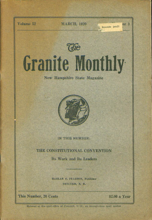 GRANITE MONTHLY New Hampshire Constitutional Convention 3 1920