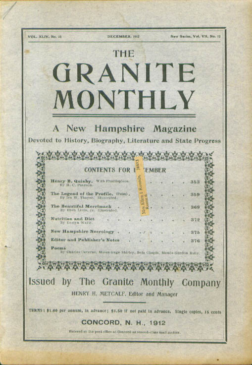 GRANITE MONTHLY Henry B Quinby Merrimack River New Hampshire 12 1912
